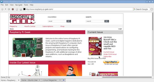 Lean Web browsers » Raspberry Pi Geek